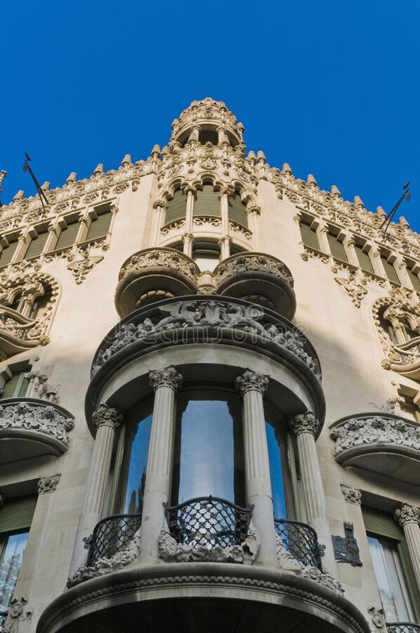 Building in Barcelona, Spain. Building located on Passeig de Gracia at Barcelona, Spain stock images