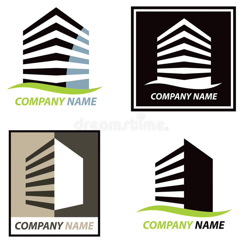 Building Logo. A building hi rise logo icon set isolated on a white background