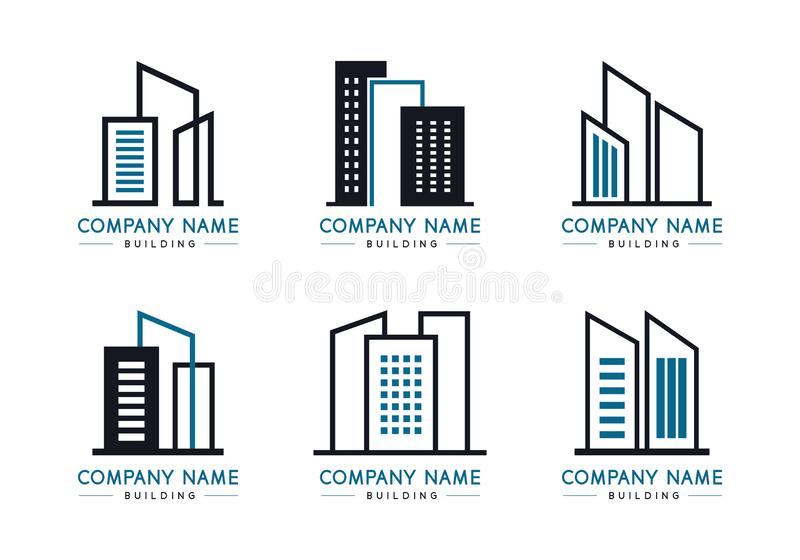 Building logo set on white background, Black and blue brand business company vector collection vector illustration