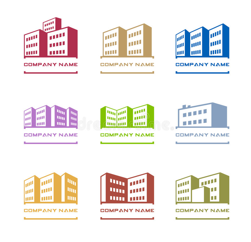 Building logos. Set of multistored building logos isolated on whit