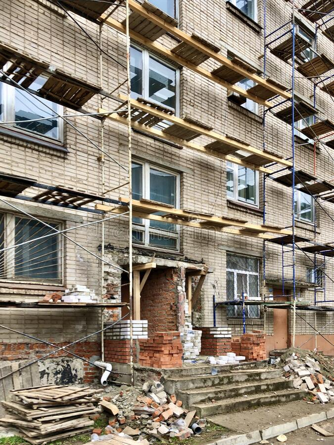 Building maintenance works. Complete building maintenance at the apartment complex in Smolensk, Russia royalty free stock photo