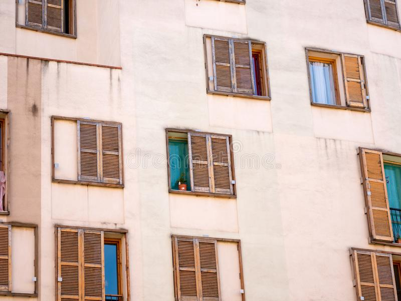 Building / Many Windows on residential building / Building exterior, Barcelona,Spain royalty free stock image
