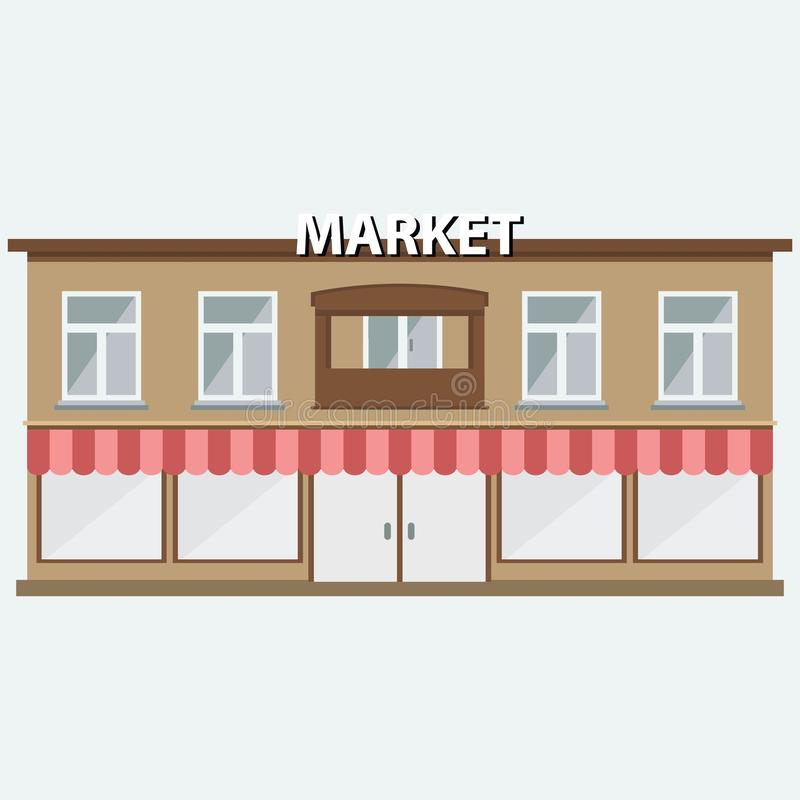Flat Design Restaurant Meat Butcher Facade Icon Modern Awning Ture Window Exterior And
