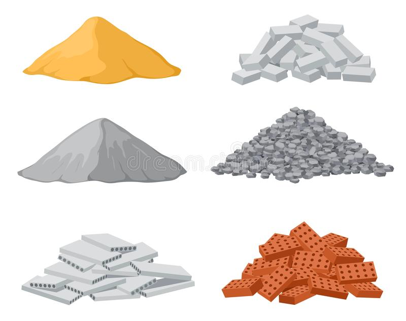 Building material piles. Red and lime brick, cement heaps. Gravel pile and reinforced concrete slabs isolated vector set vector illustration