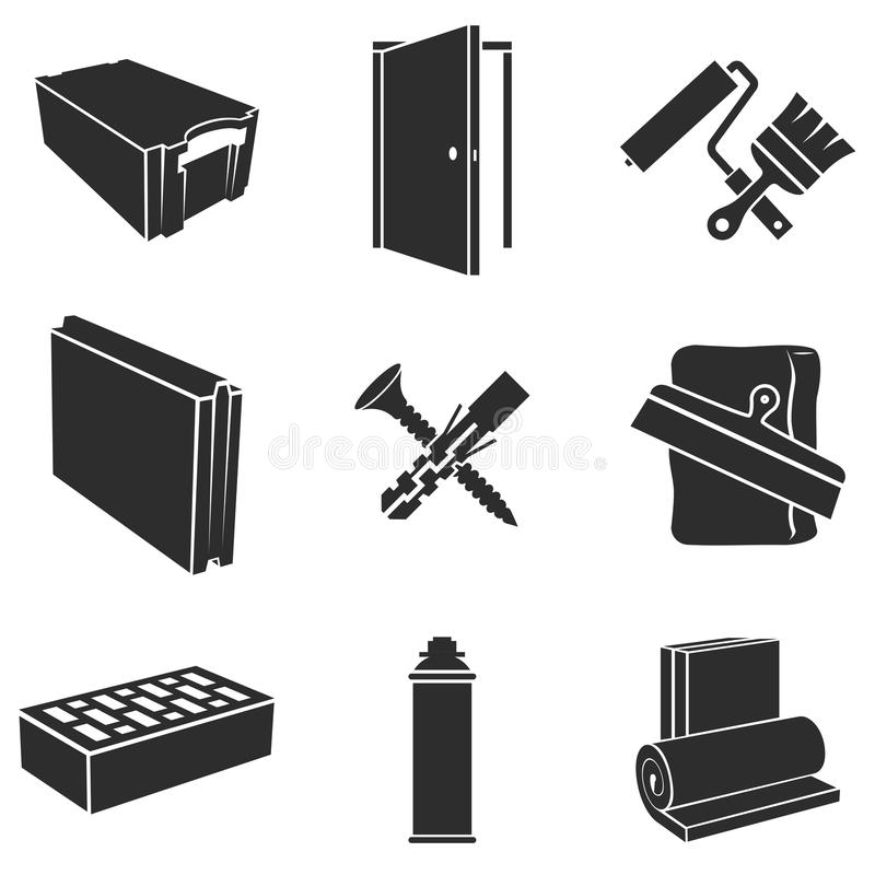Building materials icons. Building materials black and white icons set royalty free illustration