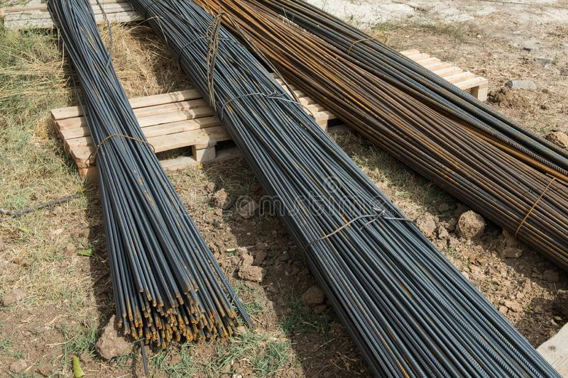Building materials outdoors. Rebar at a construction site. Armature for construction. stock images