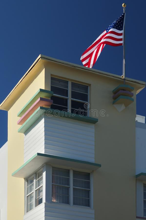 Building in Miami Beach with American flag stock photo