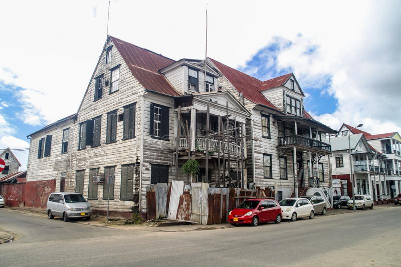 Building of Ministry of Social Affairs and Housing in Paramaribo. PARAMARIBO, SURINAME - AUGUST 5, 2015: Building of Ministry of Social Affairs and Housing in stock image