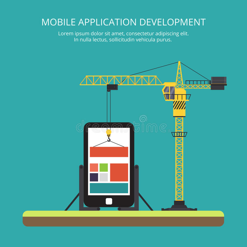 Building mobile applications using a tower crane. Illustration in a flat style royalty free illustration