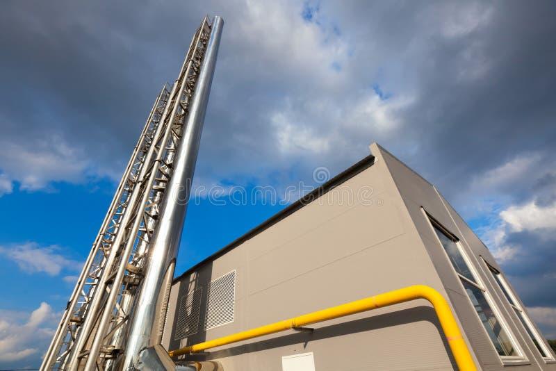 Building a modern boiler. In technopark stock image