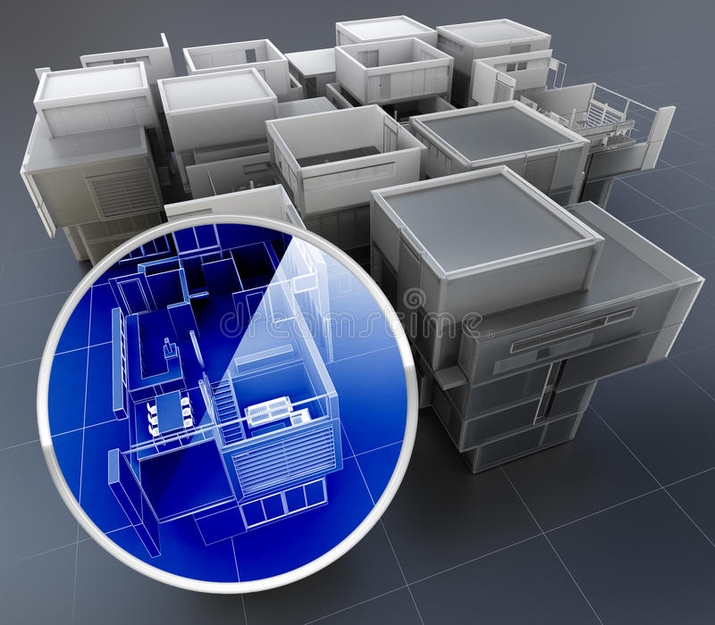 Building monitoring system. 3D rendering of building monitoring concepts stock photo