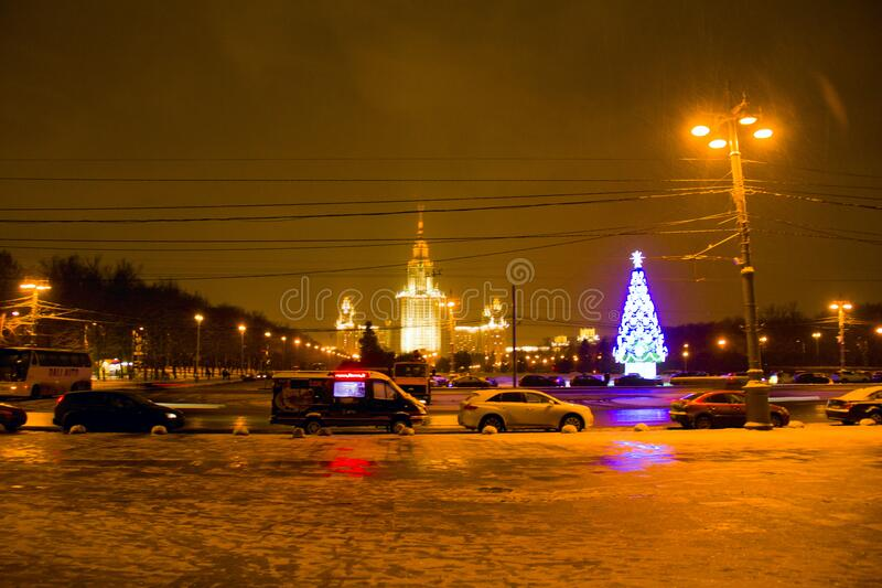 The building of Moscow State University New Year`s Eve stock images