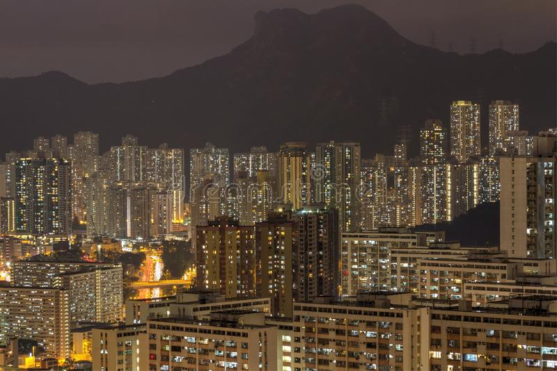 Hong kong city under the mountains royalty free stock photos