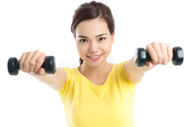 Building muscles stock photography