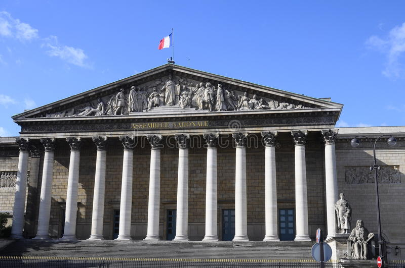 Building of National assembly in Paris royalty free stock photo
