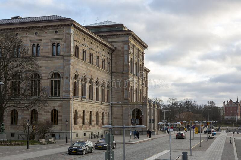 Building of the National Museum of Sweden - Sweden`s largest museum of fine arts. Stockholm, Sweden - January 16, 2020: Building of the National Museum of Sweden royalty free stock photos