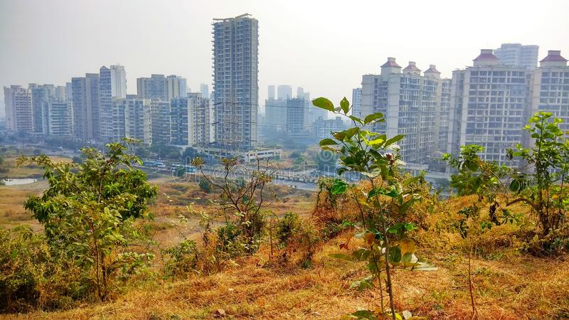 Building and nature in one picture. Navi mumbai close around hill areas stock images