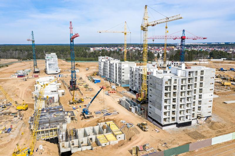 Building of new city residential area. city construction site, aerial view royalty free stock image