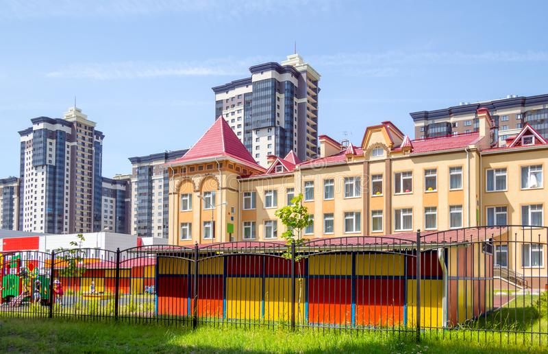 The building of a new kindergarten in a residential complex on the street Shishkov Voronezh royalty free stock photography