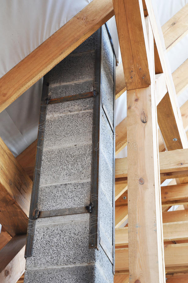 Superior Download Building New Modular Pumice Stone Chimney Inside Of Roof  Construction. Stock Photo   Image
