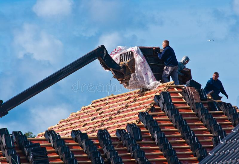 Building a new roof for a private house royalty free stock images