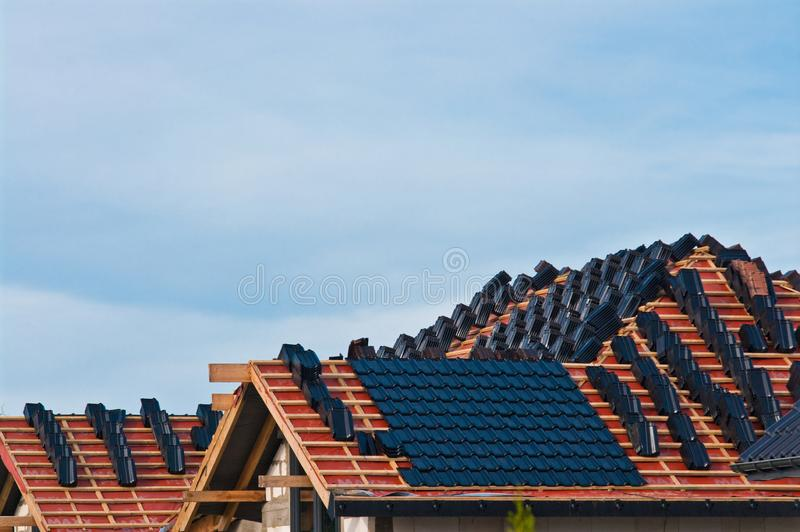 Building a new roof for a private house royalty free stock photo