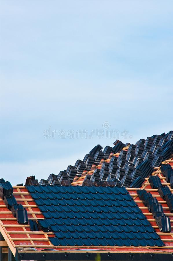 Building a new roof for a private house stock images