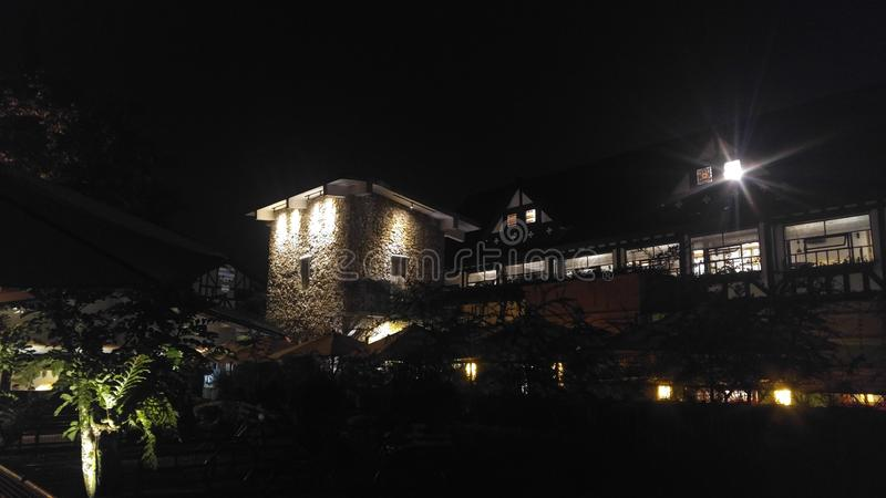 A building in that night in Farm House Susu Lembang in Bandung West Java royalty free stock photo