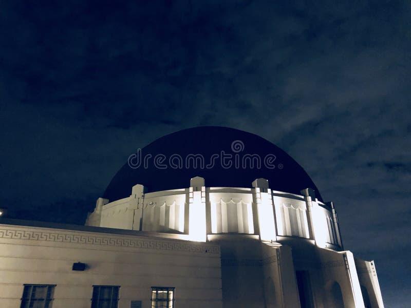 Building and night sky stock photo