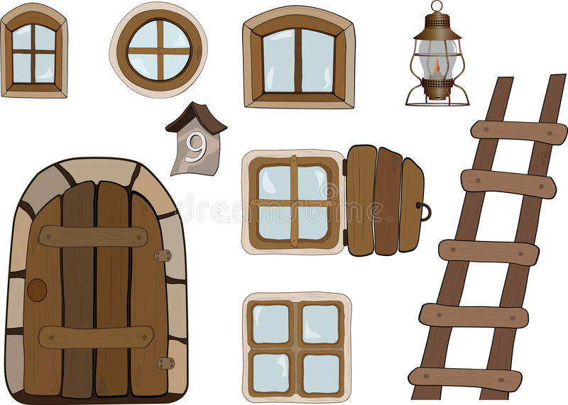 Building objects. Windows and doors royalty free illustration