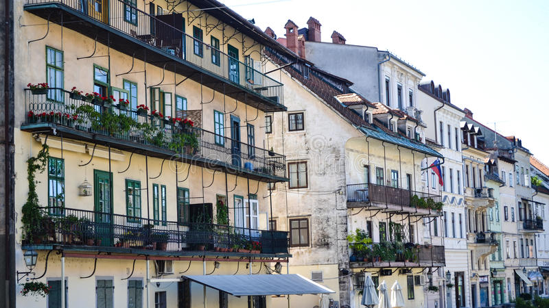 Building in the old town of Ljubljana, Slovenia. Part of the old towns pedestrian zone and a major meeting point, where festivals, Ljubljana carnival, concerts royalty free stock photography