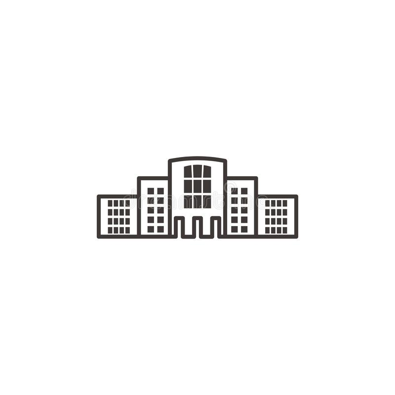 Building, outline, icon - Building  icon. On white background vector illustration
