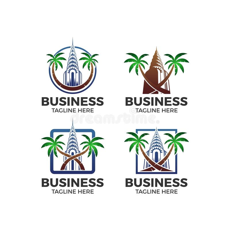 Building palm vector logo. Vector with building and palm tree royalty free illustration