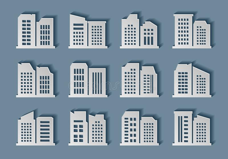 Building paper art collection, hand made city style, Desing modern architecture vector. Construction shadow concept illustration vector illustration