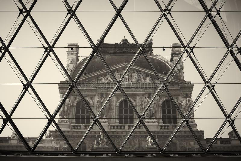 Building. Paris France old Louve window view royalty free stock images