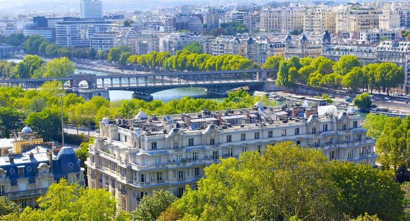 Building in Paris and river Seine