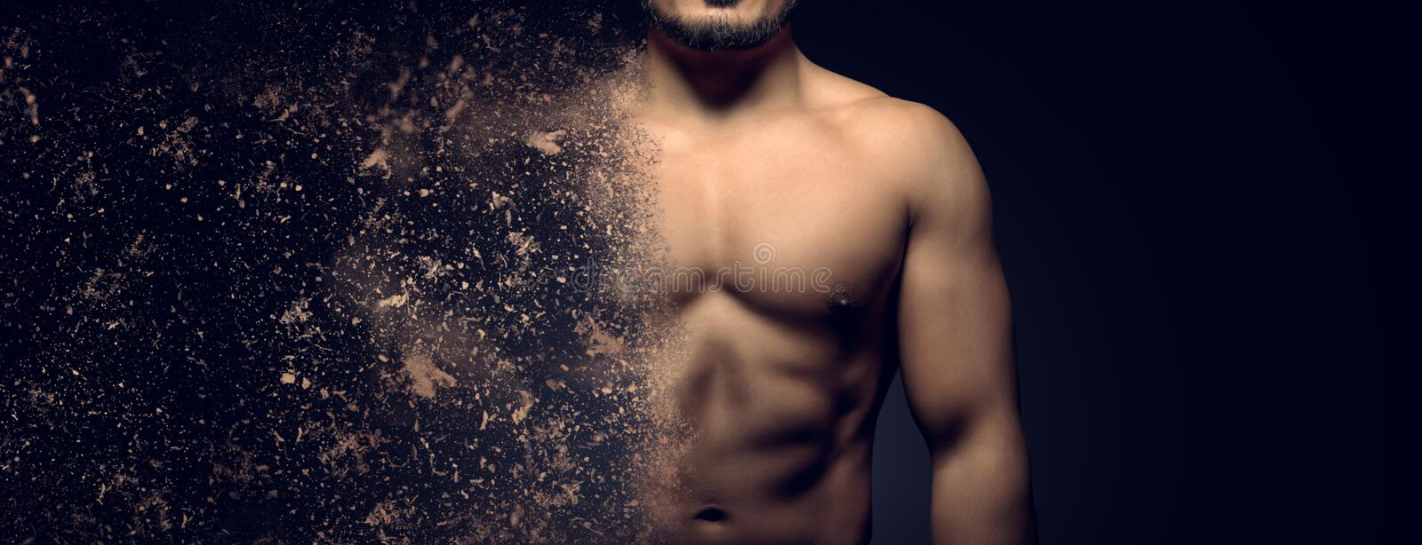 Building the perfect muscular male upper body concept. Dispersion effect royalty free stock photography