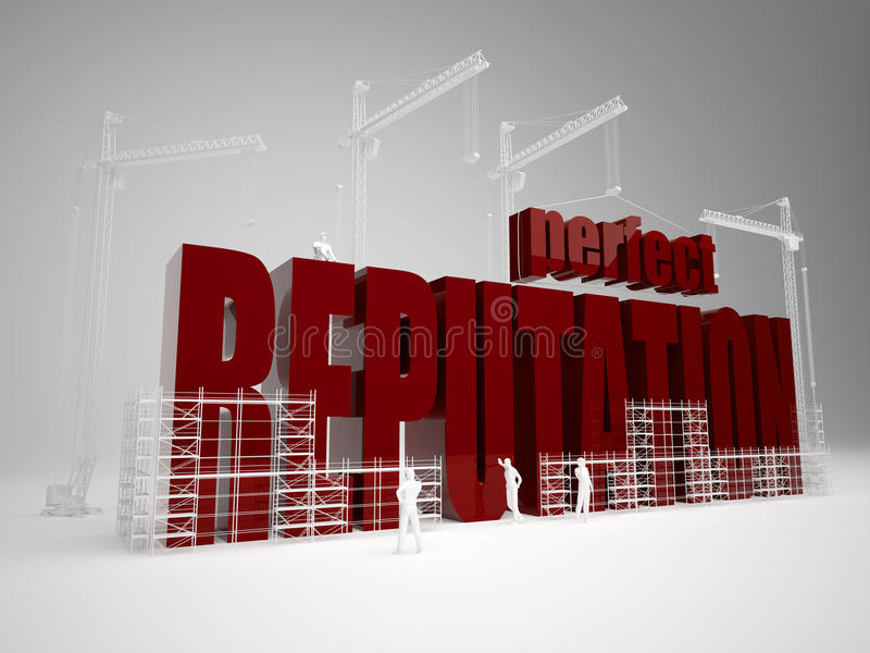 Building perfect reputation. High quality 3d render. Building perfect reputation stock photos
