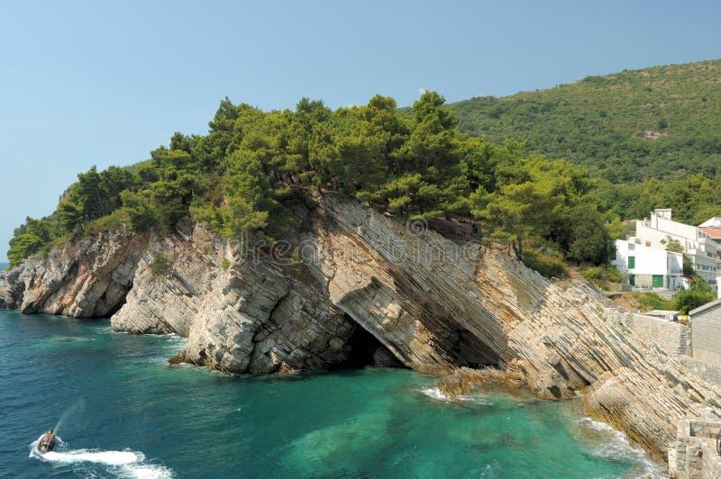 sea coast in Petrovac, Montenegro royalty free stock photos