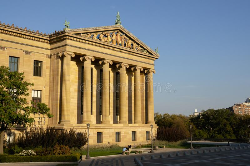 A Building at the Philadelphia Museum of Art at the Golden Hour. A front view of a building at the Philadelphia Museum of Art. It shows the front of the building royalty free stock photo