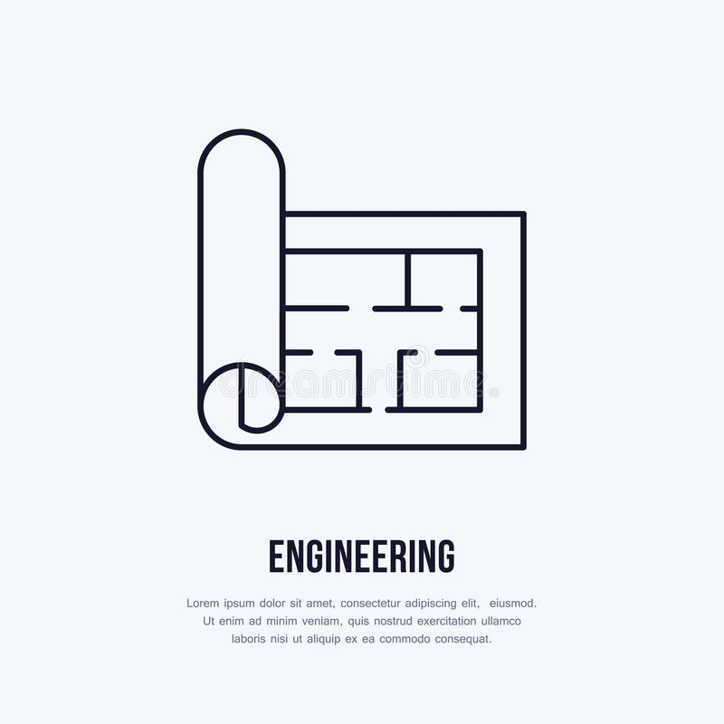Building plan architectural paper engineering vector flat line download building plan architectural paper engineering vector flat line icon technical drawing illustration malvernweather Image collections