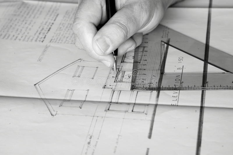 Download Building Plans Being Drawn B Stock Image - Image: 23390777