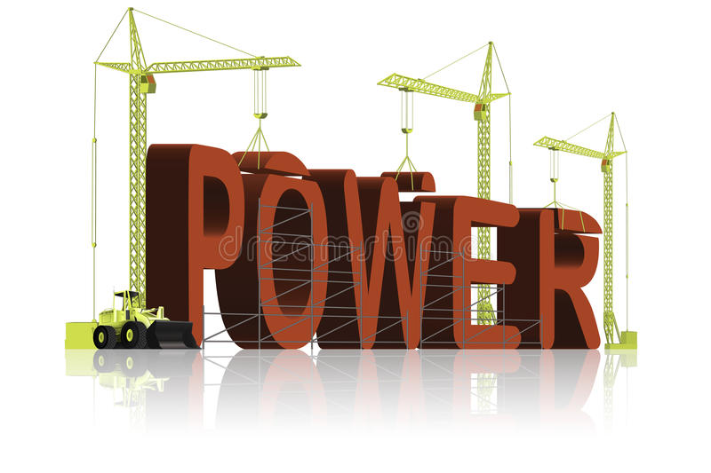 Building power muscle strength strong and powerful stock image