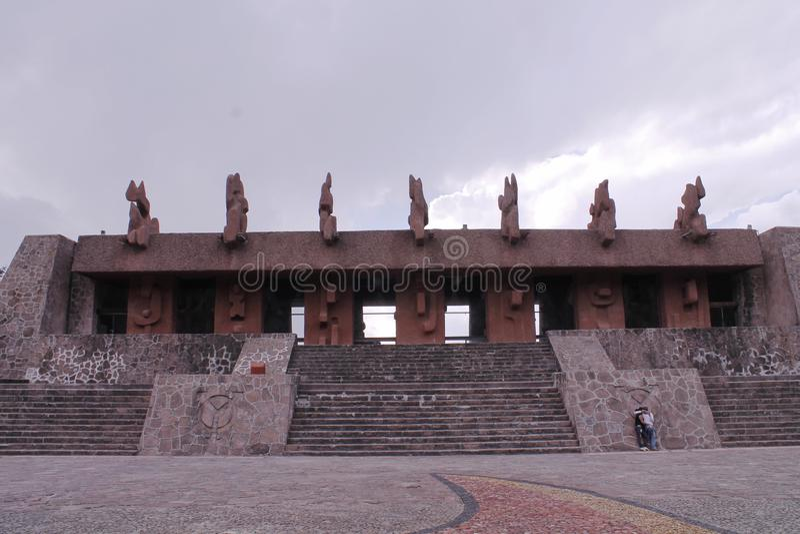Building in the square of Centro Ceremonial Otomi in Estado de Mexico. This building presides over the square of the ceremonial center otomi, located near Toluca royalty free stock photos