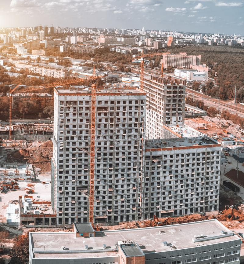 Building process of residential skyscrapers, view from top royalty free stock photography