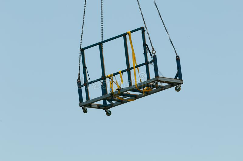 Building progress 160. At 47 Beane St. Gosford. December 2018. Gosford, New South Wales, Australia - December 1, 2018: Unloading equipment by crane on new home royalty free stock photography