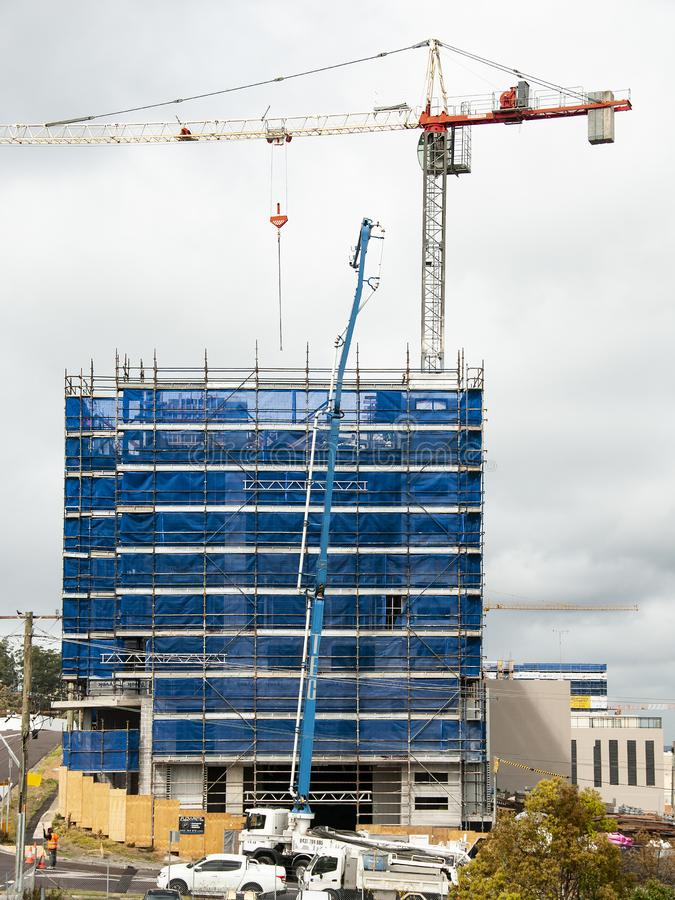 Building progress 122. At 47 Beane St. Gosford. September 2018. Gosford, New South Wales, Australia - September 3. 2018: Construction site and building progress stock photo