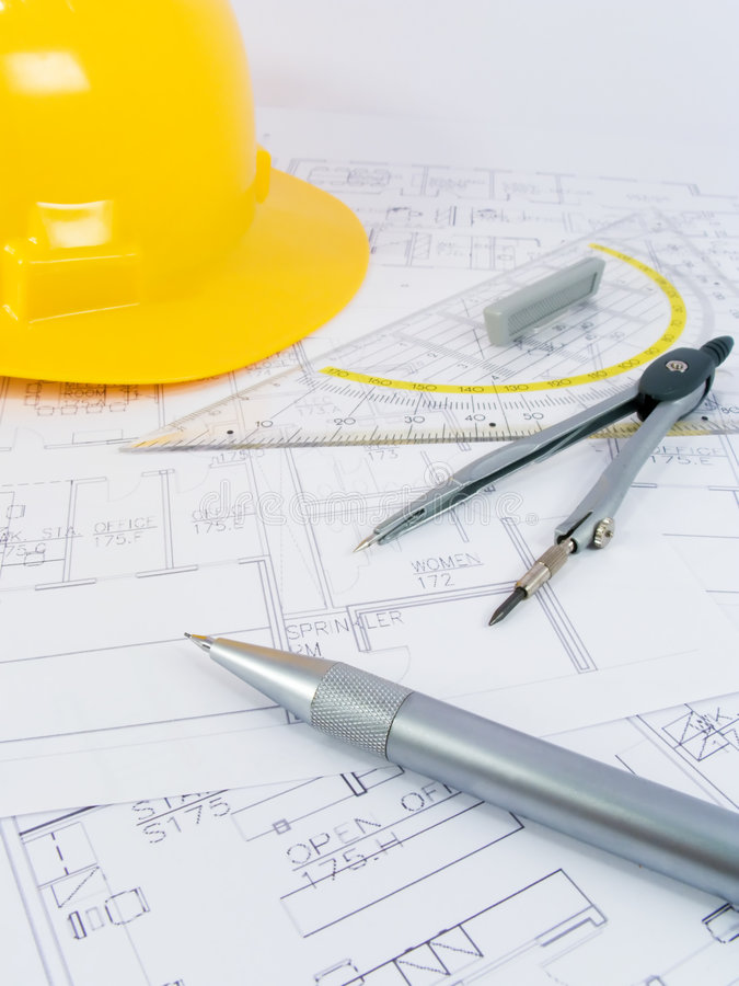 Building projects with architect drawing stock photos