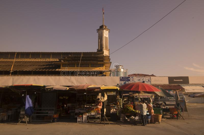 CAMBODIA BATTAMBANG PSAR NAT MARKET. The Building of the Psar Nat market in the city centre of Battambang in Cambodia.  Cambodia, Battambang, November, 2018 royalty free stock photo