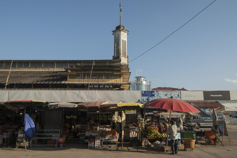 CAMBODIA BATTAMBANG PSAR NAT MARKET. The Building of the Psar Nat market in the city centre of Battambang in Cambodia.  Cambodia, Battambang, November, 2018 stock image